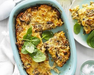 Leek and Mushroom Pasta Frittata