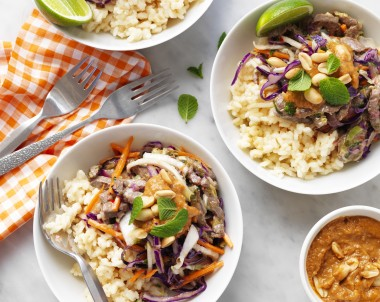 Thai Beef Coconut Rice with Peanut Sauce