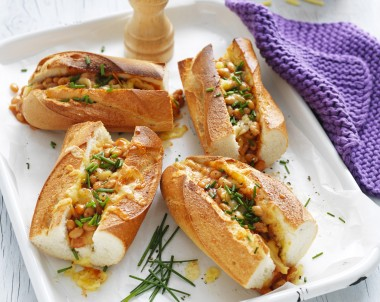 Crunchy Garlicky Long Baguettes, Topped with Baked Beans and Melted Cheese