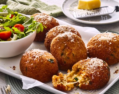 Giant arancini balls made with risotto