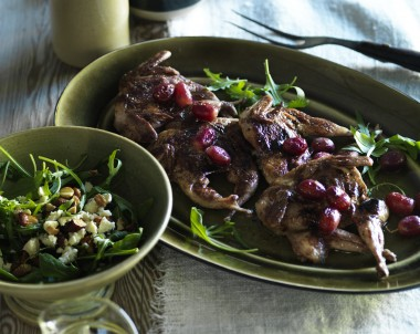 Grilled Butterflied Quail with Red Grapes and Rocket, Feta and Almond Salad
