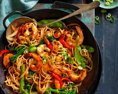 Honey soy prawns with noodles