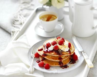 Coconut Raspberry Pancakes