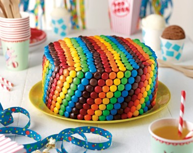 Rainbow Teacake with Vanilla Frosting and M&Ms