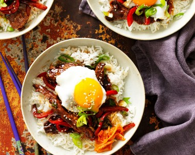 Korean Rice Bowl recipe with beef egg Kimichi