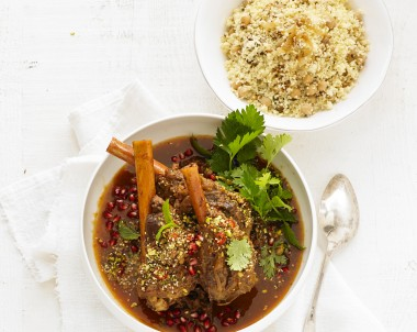 lamb shanks with Pomegranate and Dukkah