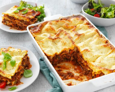 Healthy Lasagne with Mince, Mushrooms, Lentils and Ricotta Cheese Sauce