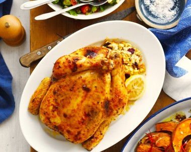 Couscous stuffed whole chicken roast recipe with spiced lemon butter
