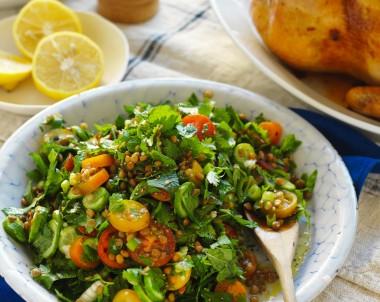 Lentil tabbouleh herb salad recipe for chicken side dish