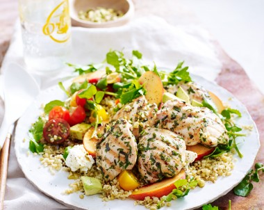 Chargrilled Herb Chicken with Freekeh and Peach Salad Lilydale