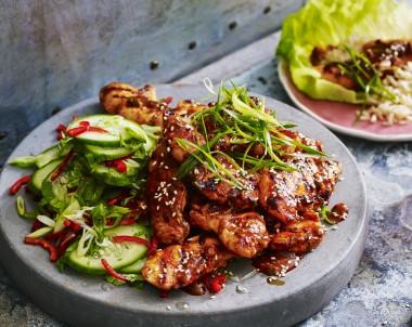 Spicy Korean Chicken with Cucumber Salad Recipe