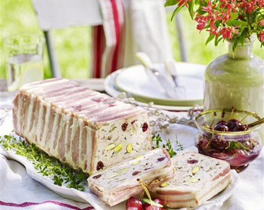 Chicken Pistachio and Cranberry Terrine with Pickled Cherries