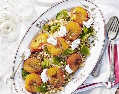 Roasted Rosemary Peaches and Pearl Couscous Salad with Labne