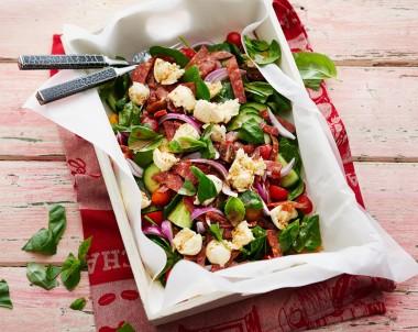 Mediterranean Bocconcini and Salami Salad