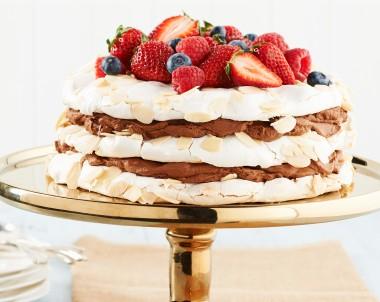 Layered Pavlova Cake with Chocolate Marsala Cream