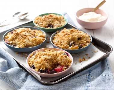Mini Pear & Blueberry Crumbles