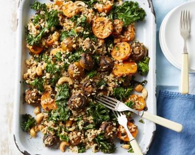Roast Mushroom, Kale Rice and Quinoa Salad