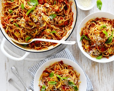 Mushroom Bolognese Recipe with Spaghetti