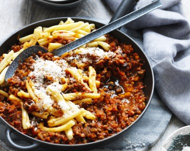 Vegan Lentil Bolognese sauce with mushrooms
