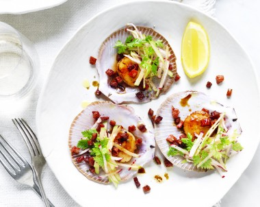 Scallops With Chorizo and Apple Slaw