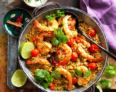 Indian Prawn Coconut Curry with rice dinner Recipe