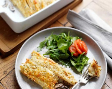 Cheese & Mushroom Crepe Bake