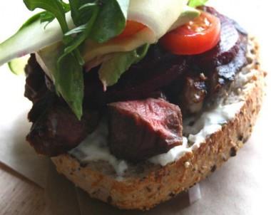 Ribboned Zucchini and Mixed Tomato, Paprika Open Steak Sandwich
