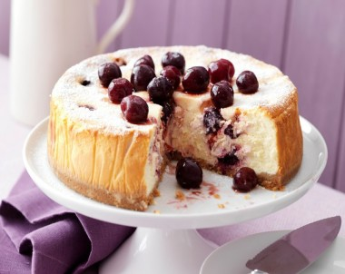 Baked Cherry Cheesecake recipe with frozen fruit
