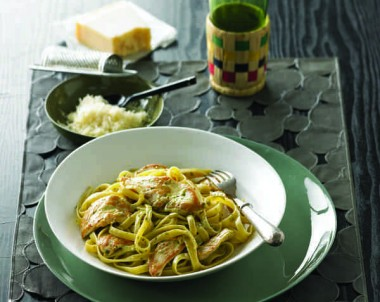 Cornfed Chicken Fettucini with Creamy Pesto Sauce