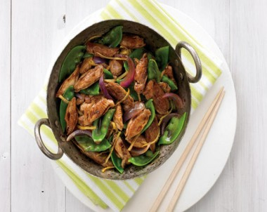Stir Fry Quail with Ginger Snow Peas and Tamarind