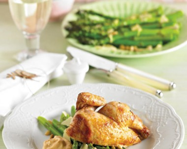 Roasted Spatchcock with Sauce Marie Rose and A Salad of Asparagus Pine Nuts and Parmesan