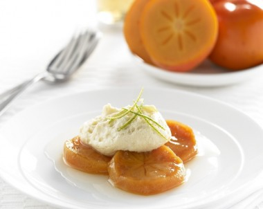 Lime poached persimmons with white chocolate mousse