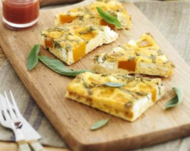 Pumpkin Sage and Goats Cheese Frittata