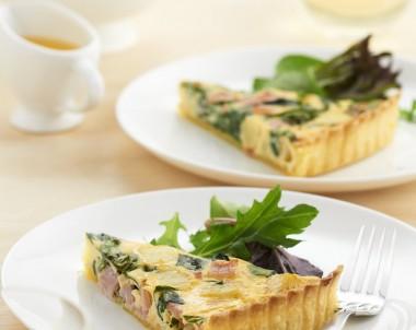 Spinach Bacon and Potato Quiche