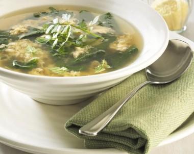 Stracciatella Soup with Baby Spinach
