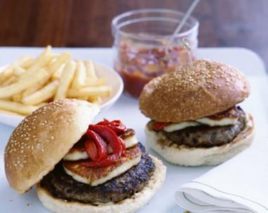 Haloumi Mushroom Burgers