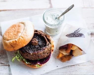 Mushroom lamb burger