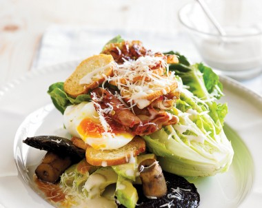 Healthy Caesar Salad recipe with avocado and mushrooms