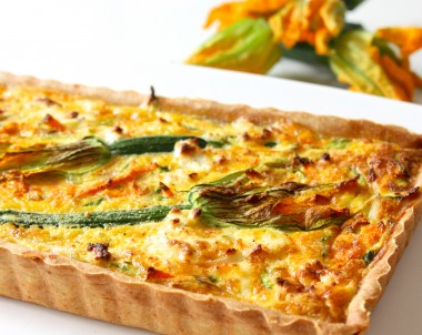 Summer Vegetable & Goats Cheese Tart with Zucchini Flowers