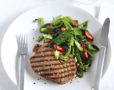 Soy glazed tuna with stir fried greens with garlic and soy