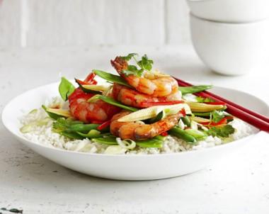Stir Fried Ginger Prawns with Asparagus and Snow Peas