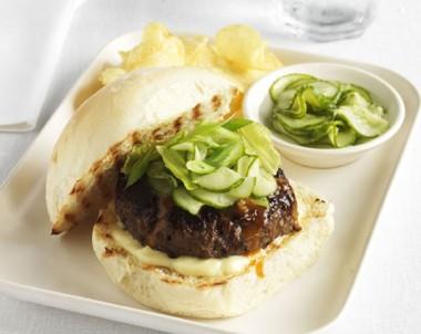 Teriyaki-glazed beef burgers