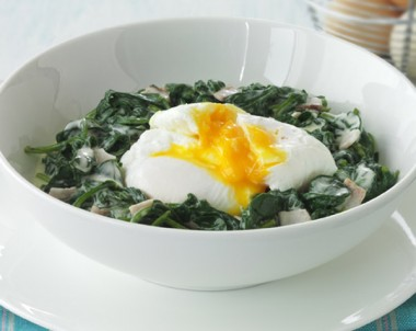 Poached Eggs and Creamy Spinach Dip
