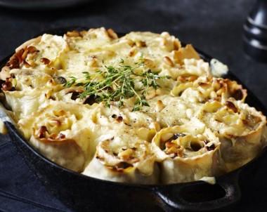 Mushroom, Bacon and Swiss Baked Rotolo