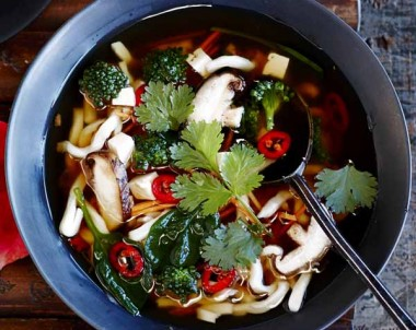 Vegetable & Tofu Udon Noodle Soup with Asian Flavours