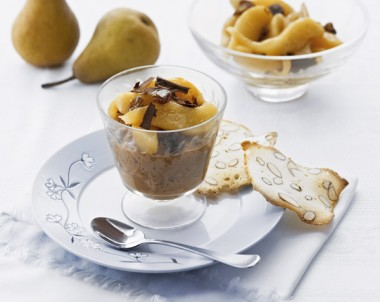 Dark Chocolate Rice Pudding with Rum 'n' Raisin Pears