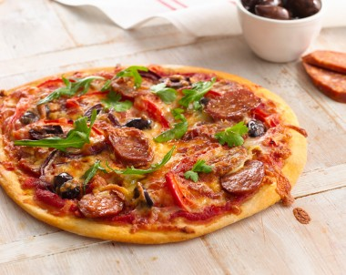 Spanish Chorizo, Capsicum and Olive Pizza