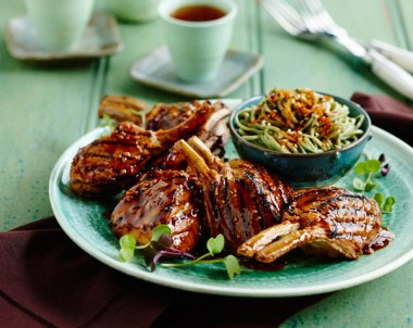 Soy and Garlic Marinated Lamb with Green Tea Noodles
