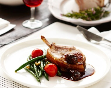 Fennel Roasted Pork Rack with Port and Fig Sauce