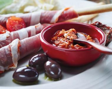 Prosciutto And Capsicum Grissini With Antipasto